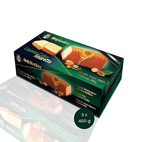 Schlünder Amaretto Liqueur Cake - feiner Rührkuchen mit Mandellikör, Fertigkuchen mit Alkohol, lecker & saftig, Bäcker-Kuchen aus Deutschland, einzeln verpackt, perfekt zum Kaffee & Tee, 3x400g