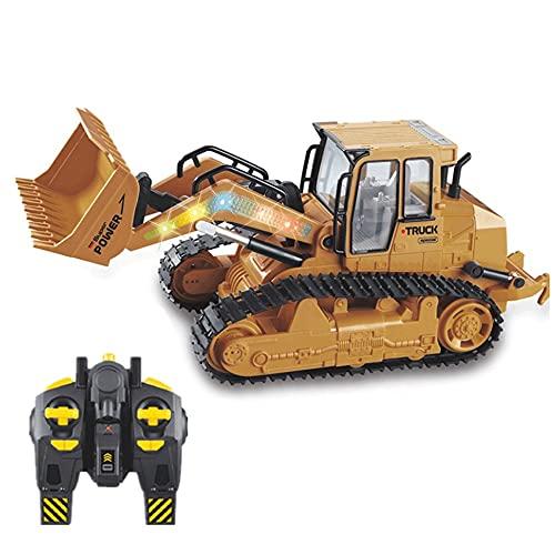 YANDFXSOP Control Remoto Bulldozer Toy Toy Funcional Funcional Cargador Delantero, RC Excavator Tractor Tractor Tractor eléctrico con Luces para niños de 4 a 15 años de Edad Niños Regalo