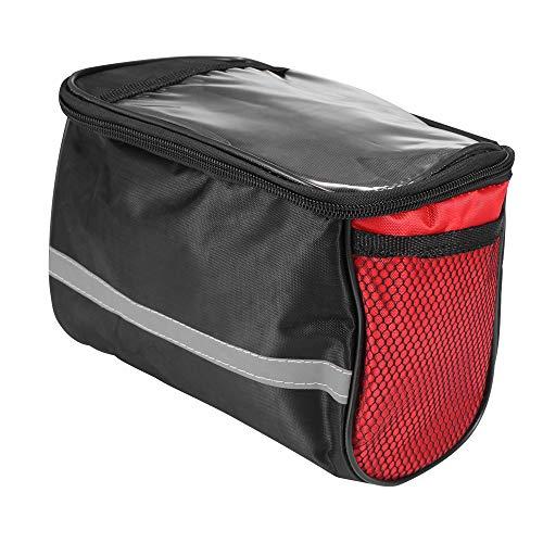 Laiashley Bolsa para manillar de bicicleta, cesta para bicicleta con doble bolsillo de malla y correa reflectante, bolsa frontal para bicicleta de montaña