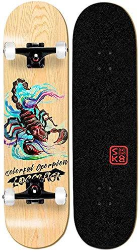 Skateboard Komplettes Skateboard Anfänger 31 X 8 mit hoher Dichte 9-lagiges kanadisches Ahornholz Klassisches TRICKS Skateboard für Erwachsene Kinder und Jugendliche Mehrere Designs Fuchs-Skorpion