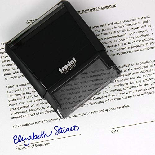 Custom Signature Stamp Self Inking Personalized Signature Stamp Blue Ink product image