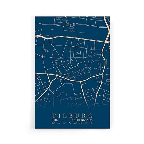 Stadskaart Tilburg Centrum VI - Walljar - Muurdecoratie - Schilderij - Plexiglas