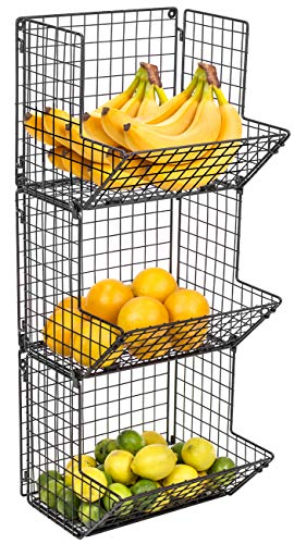 Sorbus 3-Tier Fruit Stand & Wall Mount Kitchen Storage Bin Multipurpose Foldable Organizer, Great for Kitchen, Bathroom, Laundry Organization (Black)