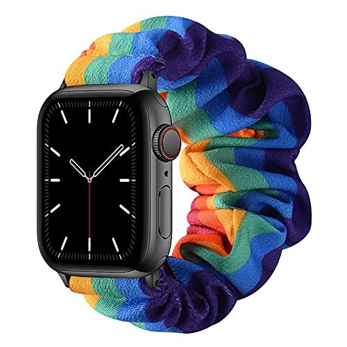 AdirMi Compatible for Scrunchie Apple Watch Band 38/40mm 42/44mm Cute Print Elastic Watch Bands Women Bracelet Strap for Apple Watch Series SE 6 5 4 3 2 1,D,42/44mm(L)