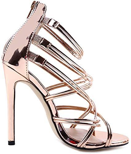 Minetom Damen Sandaletten High Heels Stiletto Reißverschluss Sexy Open Toe Hohl Kreuzgurt Sandalen Abend Party Braut Schuhe Gold 35 EU