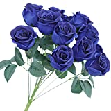 Greentime Artificial Royal Blue Flowers 16 Inches Artificial Silk Rose Bouquet 12 Heads Vintage Rose for Mother's Day DIY Wedding Home Table Centerpiece Party Decor