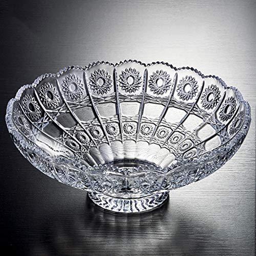 YYHSND European Transparent Fruit Plate Crystal Glass Home Transparent Fruit Plate Fruit tray (Color : Silver)