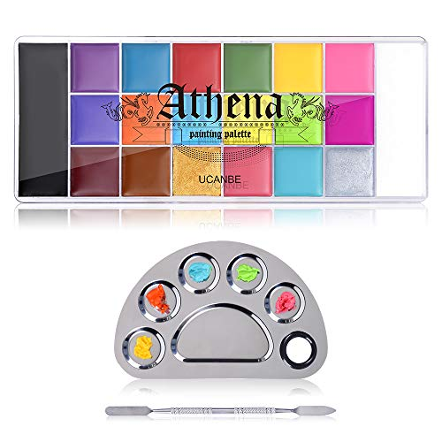 UCANBE Face Paint Oil with Mixing Palette Makeup Set, 20 Colors Halloween Body Art Costume Party Painting, Stainless Steel Mix Plate and Spatula Tool for Art Cosmetic Festival Kit
