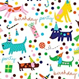 Barkday Dog Birthday Party Gift Wrap Flat Sheet 24' X 6' - Holiday Gift Wrapping Paper