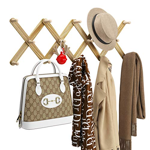OROPY Wooden Expandable Curved Coat Rack with 13 Peg Hooks, Accordion Style Rustic Pine Wood Hanger for Hanging Hats, Jackets, Purses, Scarves (Rustic White)