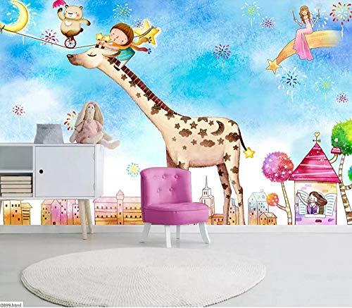 Papel pintado mural papel pintado-jirafa monociclo cachorro lindo dibujos animados-dormitorio ktv barbería sala de niños sala de estar TV pared
