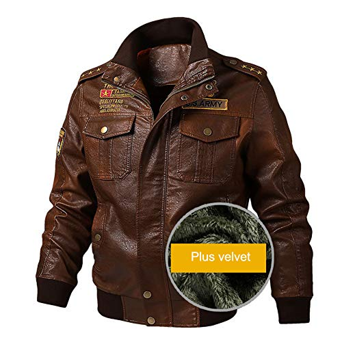 Herren Fliegerjacke Leder Vintage Bomber Patch Jacke Bikerjacke mit Reißverschluss Smart Casual Coat Winter warm,Brown-2XL