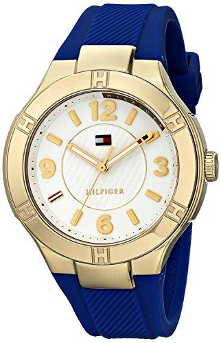 Tommy Hilfiger 1781443 - Reloj analógico para Mujer (Caucho, Acero Inoxidable, 30 m), Color Azul y Dorado