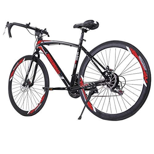 Road Bike 700C Wheels 21 Speed Disc Brake Bicycle (Red)