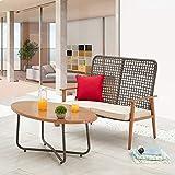 LOKATSE HOME Outdoor 2 Pcs Wood Loveseat Coffee Table Patio Cushioned Bench...