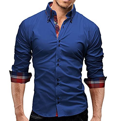 Camisa de los hombres Casual camisa blanca verano O cuello botón sólido playa manga larga