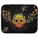 Business Aktentasche Hülle Totenkopf Mit Kopfhörer Gelb Laptop Hülle Schutzhülle Für MacBook Pro Air Lenovo Samsung Sony