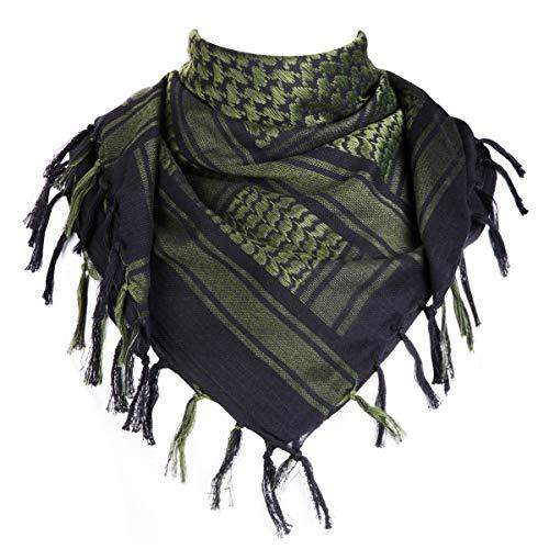 FREE SOLDIER Halstuch/Kopftuch Shemagh,100% Baumwolle Palituch Taktischer Schal Arabischer Wüsten Schals Unisex dreieckstuch,110 * 110cm,Schwarzgrün