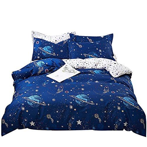 Galaxy Moon Stars Space Rocket Astronaut Duvet Cover Sets, Blue Bedding Set Polyester Duvet Cover For Kids Girl Daughter Boy Teenager Children + Pillowcase 50x75 cm (KING 220 x 240 cm)