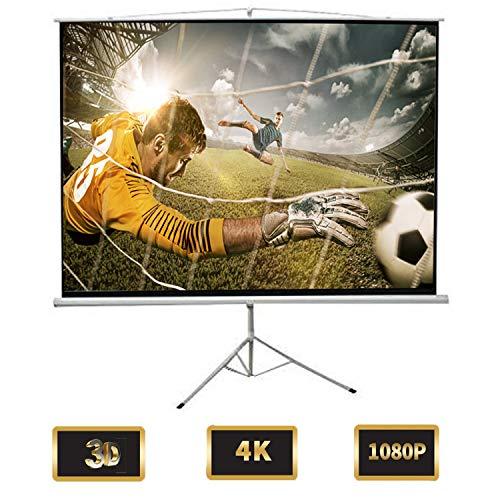 Todeco - Schermo Di Proiezione, Telo Per Videoproiezioni - Materiale: Tessuto in nylon - Dimensioni piegato: 198 x 7 x 7 cm - 190 x 190 cm, con treppiede