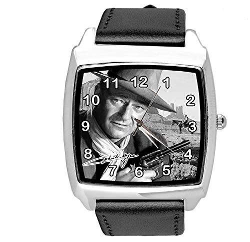 Reloj cuadrado de cuero negro para los fans de la película occidental