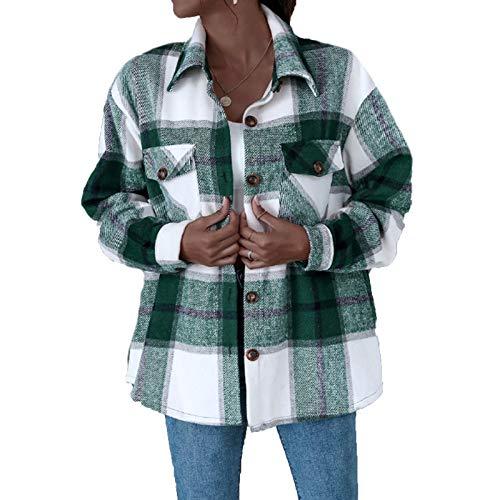 cappotto donna a quadri Koitniecer Camicia da Donna a Quadri con Bottoni in Flanella Camicetta Casual a Maniche Lunghe a Maniche Lunghe Cappotto Cardigan con Risvolto Medio-Lungo (Green