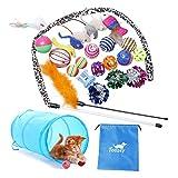 ENSEMBLE DE JOUETS POUR CHAT INTERACTIF DE MEILLEURE VALEUR: 24 pièces de jouets pour chaton, y compris des tunnels pliables, des jouets en plumes interactifs, du poisson sisal, une souris en coton, diverses boules de rides de couleur, des cloches et...