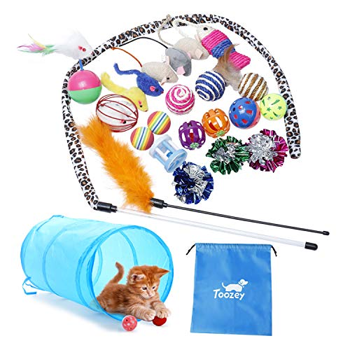 Toozey Cat Toys 24 Pcs Kitten Toys for Indoor Cats Kitten Interactive Mouse Toys Set for Kitty and Cats Bonus Storage Bag