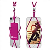 Gear Beast Cell Phone Lanyard - Universal Neck Phone Holder w/Card Pocket and Silicone Neck Strap - Compatible with Most Smartphones, Hot Pink