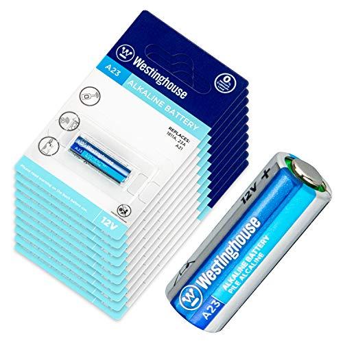 Westinghouse Lote de 1 Pila Super alcalina 12V A23 Paquete x5 x10 x20 Ideal para mandos de Garaje, alarmas de Coche, etc (10 Unidades)