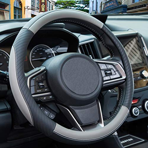 ZATOOTO Car Steering Wheel Cover Leather - Soft Gray Microfiber...