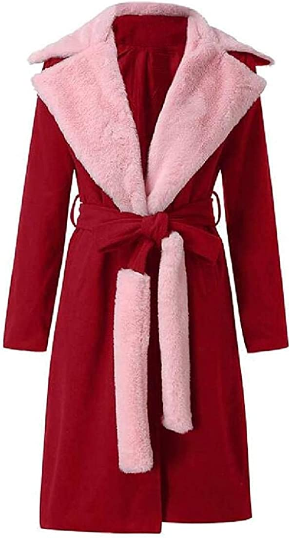 Women Long Sleeve Belted Slim Faux Fur Neck Overcoat Pea Coat