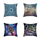 Niuqichongtian Funda de almohada 4 piezas Set Mandala Picture Sofá Fundas de cojín Cojines al aire libre Decoración del hogar TPR005-3