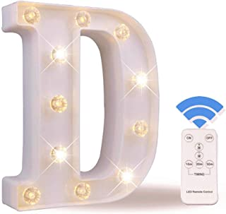Obrecis LED Letter Lights White Marquee Letters Alphabet Light Up Sign with Diamond Bulbs Remote Control Timer Dimmable Wedding Birthday Party Decoration Letters (D)