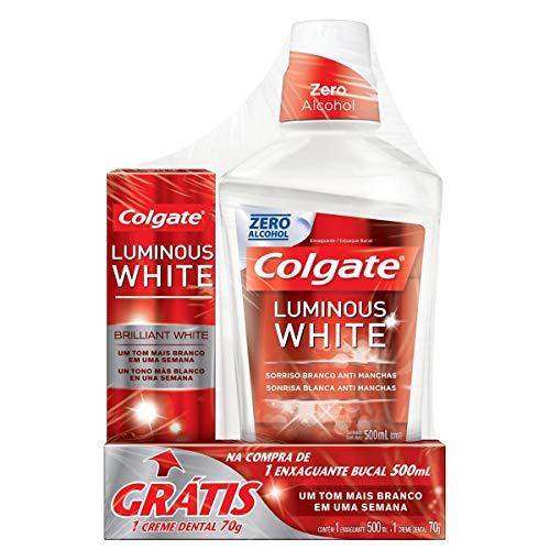 Enxaguante Bucal Colgate Luminous White 500ml Promo Grátis 1 Creme Dental