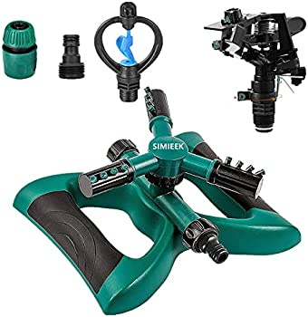 SIMIEEK 360 Degree Automatic Rotating Portable Lawn Sprinkler