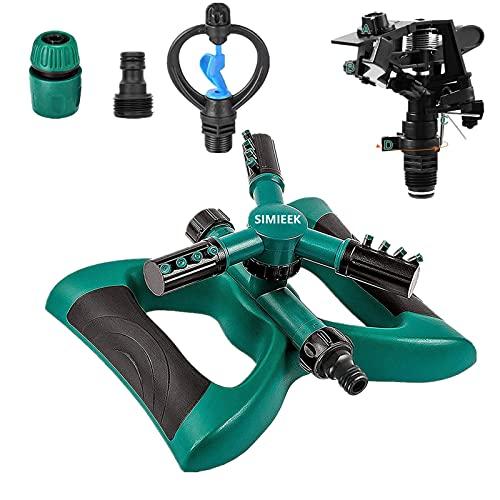 SIMIEEK Garden Sprinkler, 360 Degree Automatic Rotating Portable Lawn Sprinkler, Rotary 3- Arms Water Sprinkler (L-Updated)