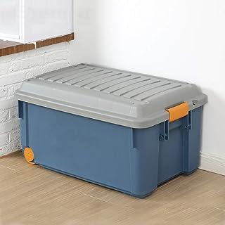 MU Ménage Portable Boîte De Rangement en Bois Massif, Voiture en Plastique Grand avec Couvercle Vêtements Rangement De Bur...