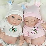 Kaydora Reborn Baby Doll Silicone Full Body,10 inch Washable Reborn Twins,Realistic Anatomically Correct Newborn Baby Doll Boy and Girl