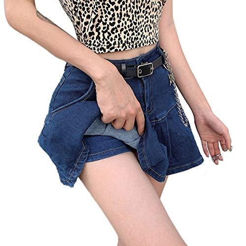 Jeans Rock für Damen Mini Dasongff Frauen Mädchen Used-Look-Denim-Minirock Hoch tailliert Dehnbaren Skater Mini Rock mit Shorts Swing Röcke...