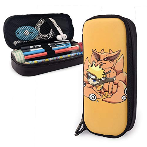 Naruto - Estuche de piel para lápices de gran capacidad con cremallera duradera para artículos de papelería y otros suministros escolares