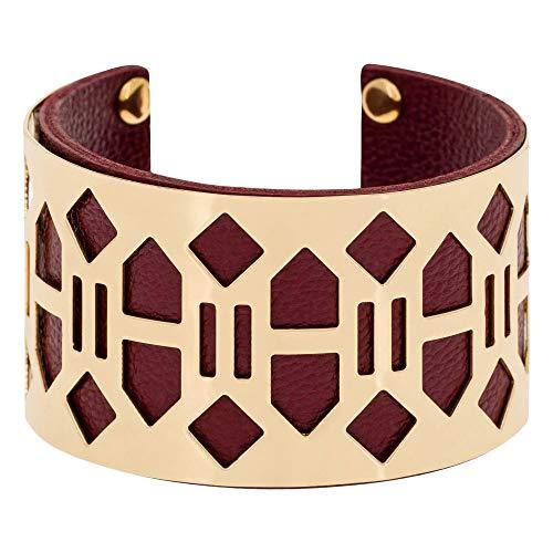 Mes-bijoux.fr armband banjul goud kunstleer bordeaux