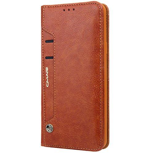 Funda cartera iPhone 6 Plus / 6S Plus con una solapa para llevar tarjeta de credito y dinero, Marrón