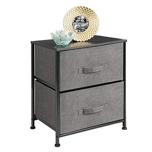 mDesign Mesa de luz con 2 cajones – Organizador de armarios en tela – Cajoneras para armarios, para el dormitorio o el vestidor – gris antracita