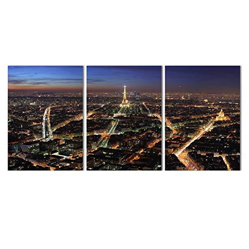 MMLFY 3 opeenvolgende schilderijen op canvas HD-druk schilderijen modulaire afbeeldingen 3 panelen prachtig nachtzicht van de stad fotolijsten wandposter modern huis decoratie woonkamer 35 cm x 50 cm x 3 stuks