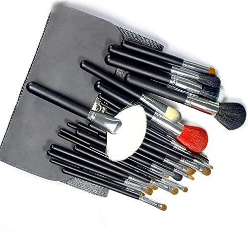 DDFHK Set de pinceaux à maquillage 26 pièces de bois, outils de beauté manche en bois noir, gris