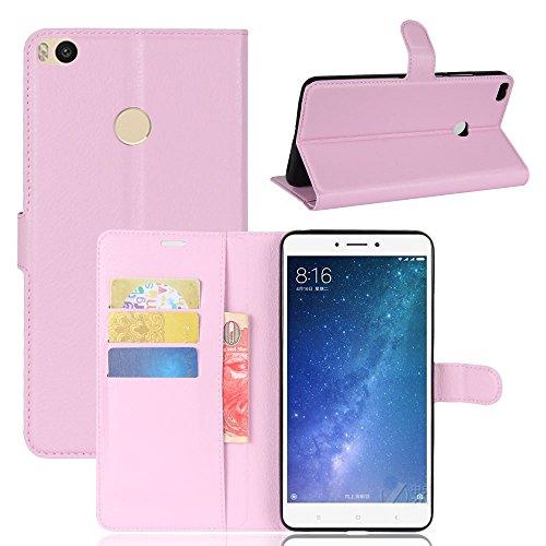Capa Capinha Carteira Case 360 Para Xiaomi Mi Max 2 Tela De 6.44Couro Sintético Flip Wallet Para Cartão - Pronta Entrega (Rosa)