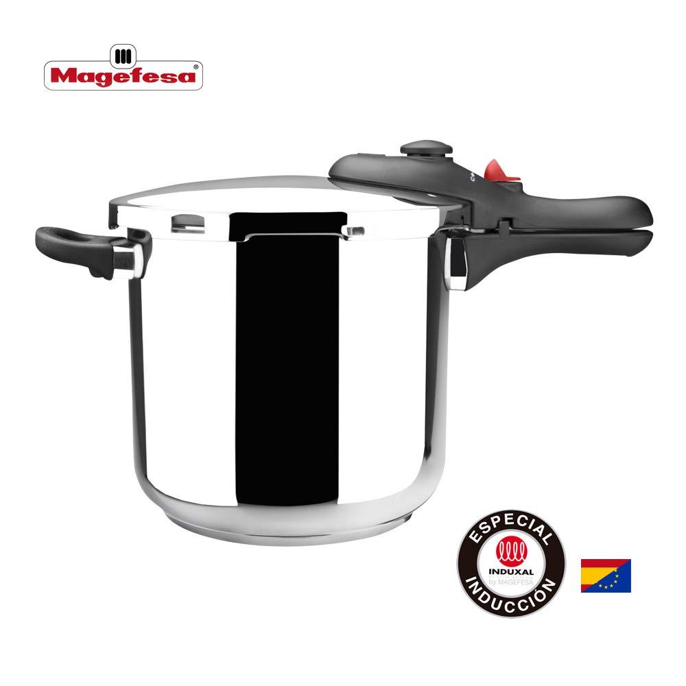 MAGEFESA DB Olla a presión super rápida de fácil uso, acero inoxidable 18/10, apta para todo tipo de cocinas, incluido inducción. Acero inoxidable, fondo termo difusor encapsulado de 5 capas. 6L: Amazon.es: