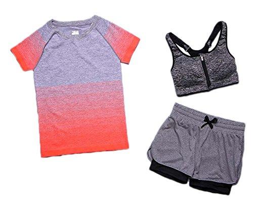 Black Temptation Ensemble de vêtements de Sport pour athlétisme Sportif de 3 pièces pour Femmes
