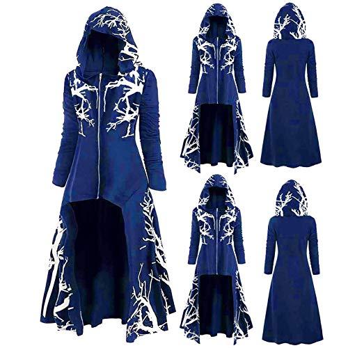 AIORNIY Damenpullover Langarm Elegant Damen Tops Winter Kapuzen Kleid Übergröße Baumdruck High Low Halloween Mantel Oberteile Herbst Sexy Bluse Frauen